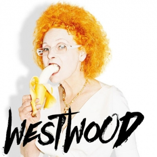 Westwood movie poster of Vivienne Westwood eating a banana