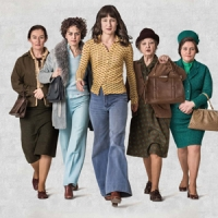 Poster image with six leading women characters, dressed in 70s attire, looking like they are leading a charge