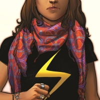 Ms Marvel No Normal cover of a girl with a fist and a lighting bolt on her chest