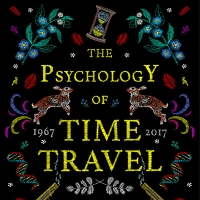 The Psychology of Time Travel book detail. Stitched letters onto a black background with a stitched hour glass and rabbits.