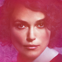 Keira Knightley stares at camera in purple tones